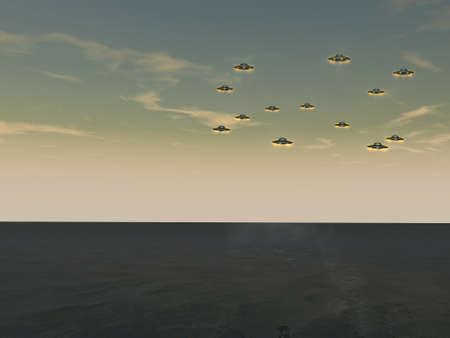 unidentified: OVNIS - objetos voladores no identificados Foto de archivo