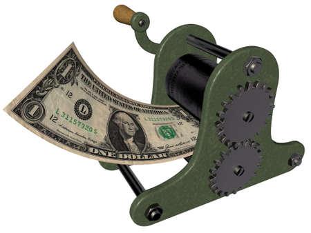 Cartoon des Geldverdienens auf der Hand Druckmaschine