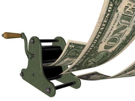 Beeldverhaal van het maken van geld op de hand drukpers Stockfoto - 12295398