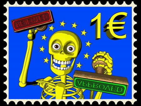 bureaucrat: Cartoon of postage stamp one EURO - bureaucracy in European Union