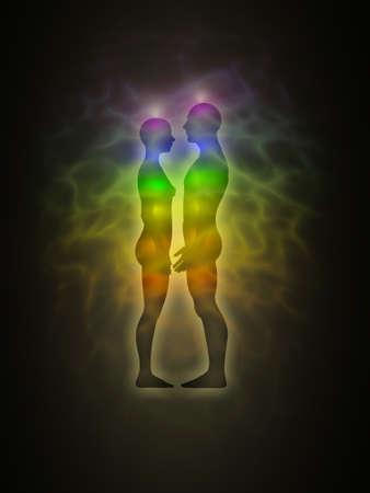 aura: Frau und Mann Silhouette mit Aura, Chakren, Energie - Profil