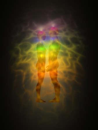 Frau und Mann Silhouette mit Aura, Chakren, Energie - Profil