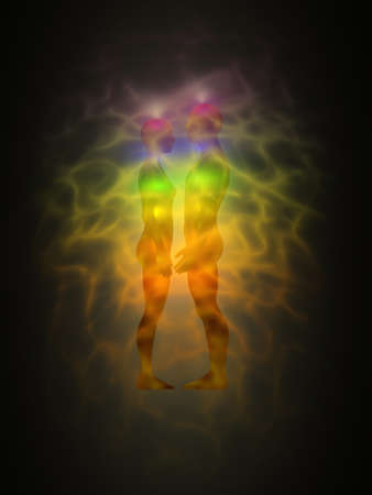 Woman and man silhouette with aura, chakras, energy - profile