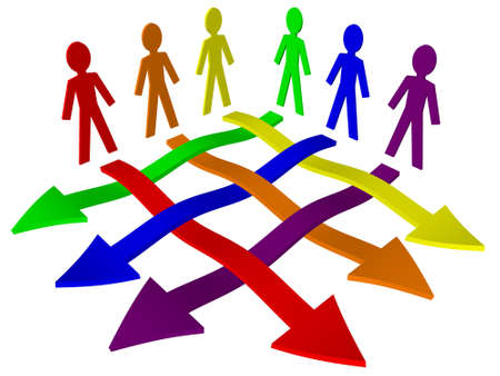 Characters and arrows - business team, teamwork, working relations Stock Photo