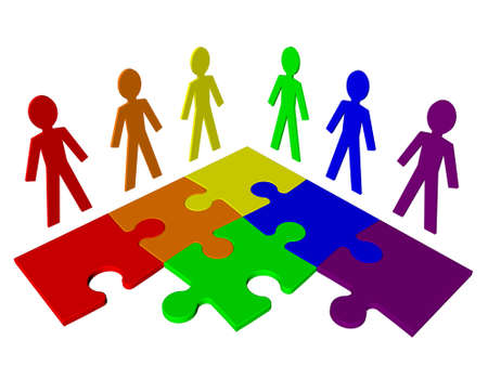 Characters and puzzle - business team Stock Photo - 12995488