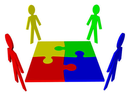 Teamwork - characters and puzzle Stock Photo