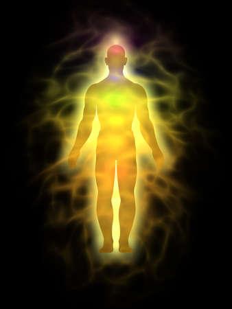 astral body: El hombre la energ�a del cuerpo, el aura - silueta Foto de archivo