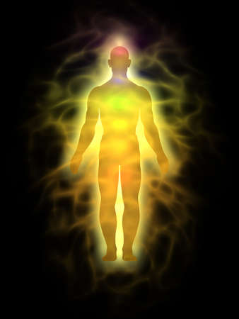 aura: Man energy body, aura - silhouette Stock Photo