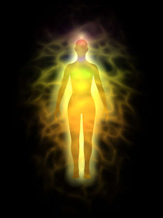 Frau Energiekörper, Aura - Silhouette Standard-Bild