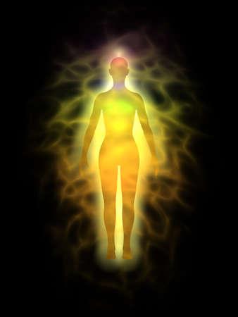 aura: Frau Energiek�rper, Aura - Silhouette Lizenzfreie Bilder