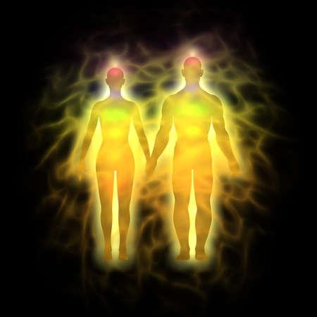 Frau und Mann Energiekörper, Aura - Silhouette Standard-Bild