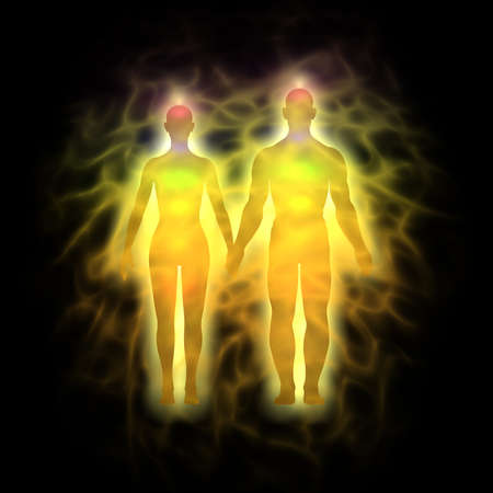 Woman and man energy body, aura - silhouette photo