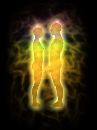 Human aura - energy body - couple - profile Stock Photo