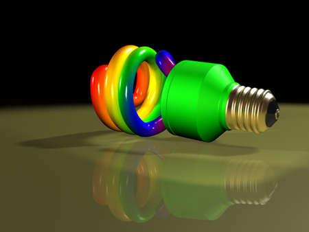 tubos fluorescentes: Rainbow lámpara fluorescente compacta Foto de archivo