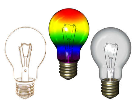 Rainbow clear and sketched bulb isolated on white background Stock Photo - 12995518