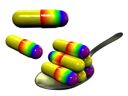 Pills on spoon, white background Stock Photo - 12995499