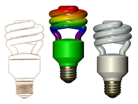 Rainbow white and sketched compact fluorescent lamp Stock Photo - 12995519