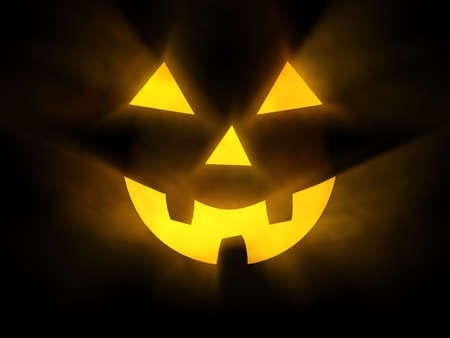 Halloween face with glowing rays of light