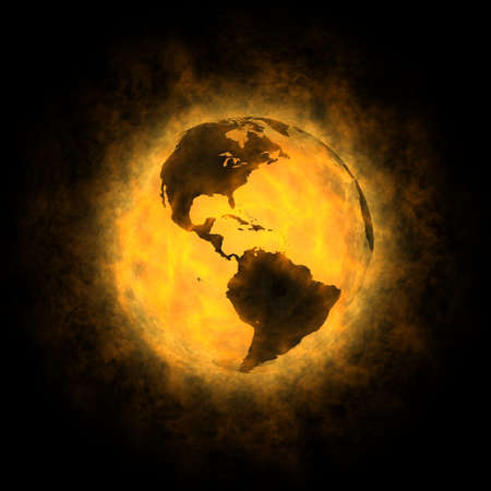 Insgesamt Erwärmung des Planeten Erde - Amerika Standard-Bild