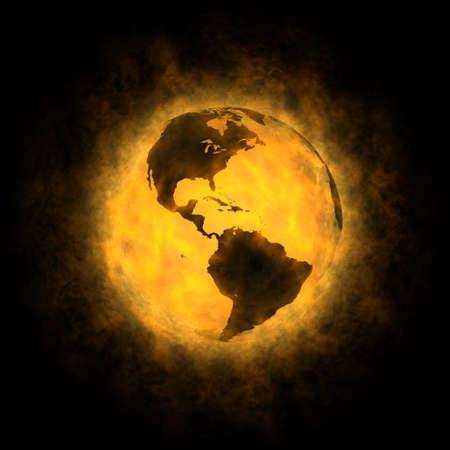 erde gelb: Insgesamt Erw�rmung des Planeten Erde - Amerika Lizenzfreie Bilder