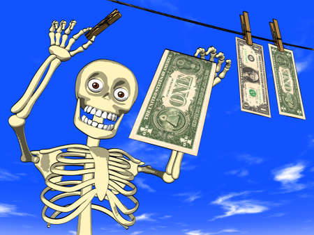 laundering: Cartoon - money laundering Stock Photo