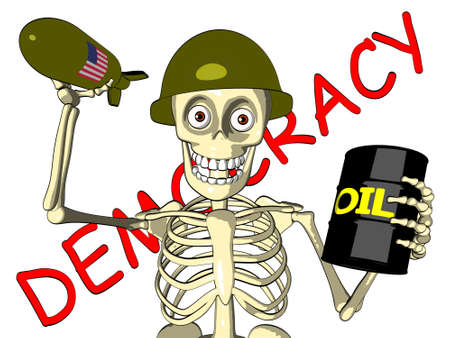barrel bomb: Democracy or oil - U S  soldier