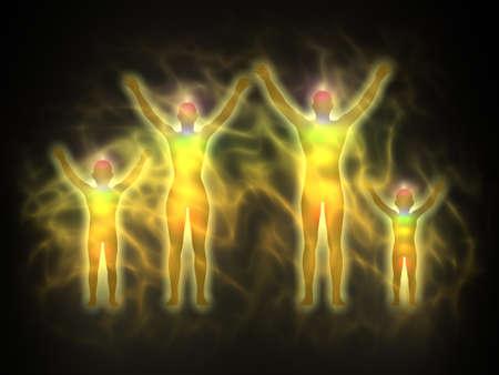 astral body: Familia - cuerpo de la energ�a, el aura Foto de archivo