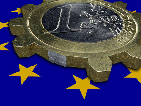 european integration: Depression - EURO coin as broken cogwheel