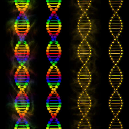 DNA - rainbow deoxyribonucleic acid on black background