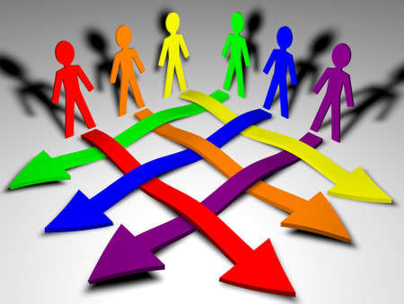 Characters and arrows - business team, teamwork, working relations Stock Photo - 13446644