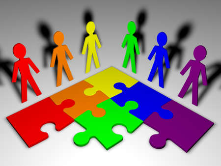 Tekens en puzzel - business team Stockfoto - 13446595