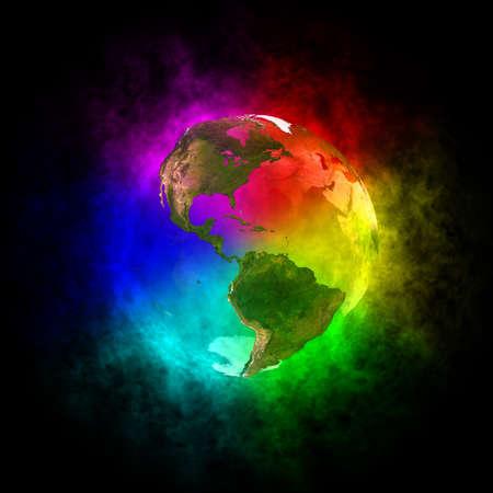 Rainbow en schoonheid planeet Aarde - Amerika Stockfoto - 13446777