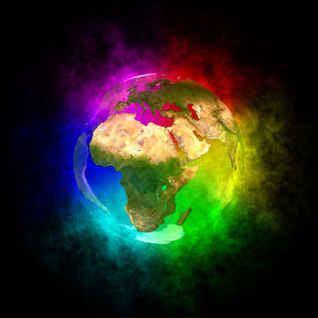 Rainbow and beauty planet Earth - Europe, Asia and Africa Stock Photo - 13446789