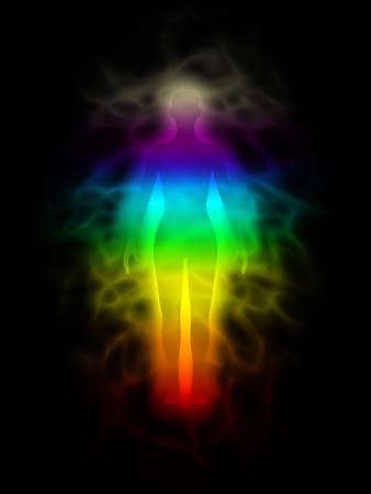 aura: Rainbow silhouette with aura - woman