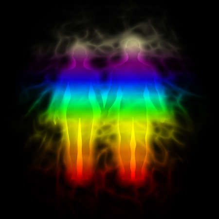 vibrations: Rainbow silhouette with aura - woman and man Stock Photo