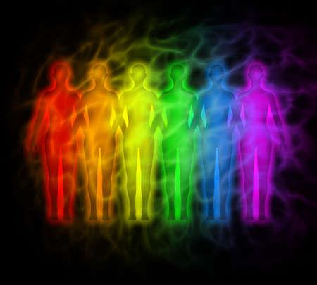 Rainbow mensen - regenboog silhouetten van de menselijke aura Stockfoto
