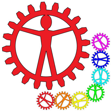 People like gears - company, work, individuality Vector