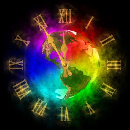 optimistic: Cosmic clock - optimistic future on Earth - America Stock Photo