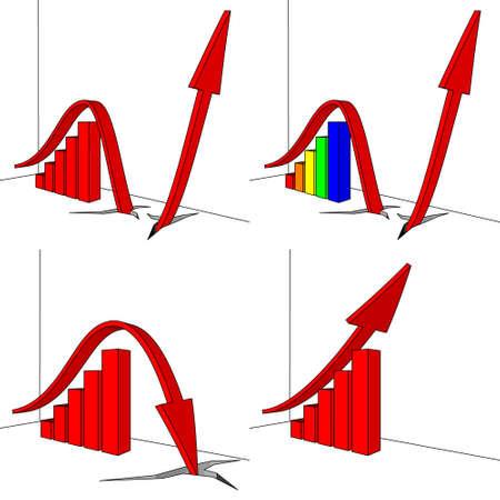 Bar graph with an arrow