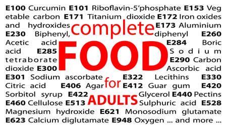 food additives: E-numbers - food additives Stock Photo