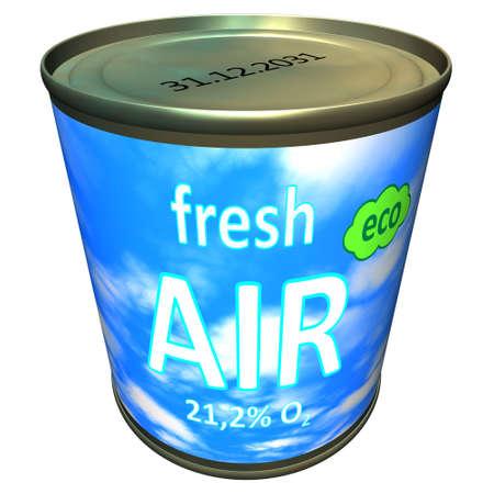 aire puro: Lata de aire fresco ecológico - de dibujos animados Foto de archivo