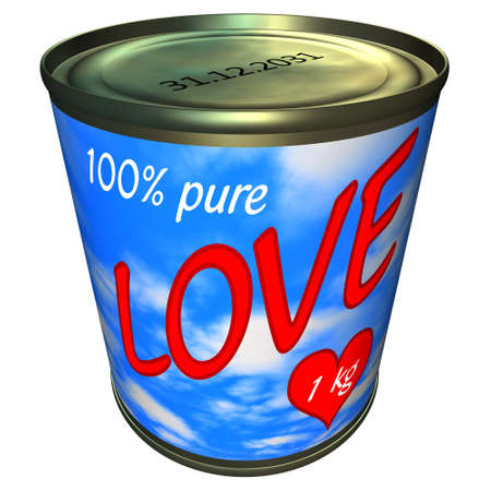 Can of 100 percent pure love 1 kg Stock Photo