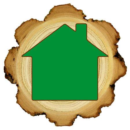 Concepto ecol�gico casa de madera - los anillos de crecimiento Foto de archivo - 13933441