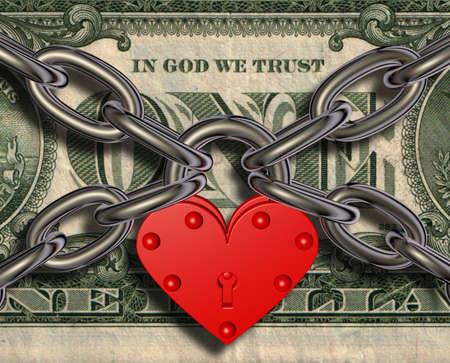 We love money - heart lock and money Stock Photo
