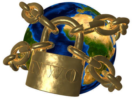 New World Order  NWO  - world in chains Stock Photo - 18725475