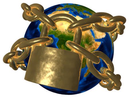 Verschwörungstheorien - Earth in goldenen Kette - Europa Standard-Bild