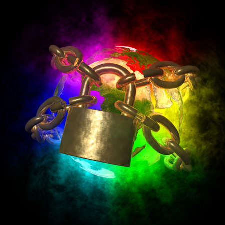 Rainbow Earth wirh aura breaking golden chain - change of world Stock Photo - 18725468