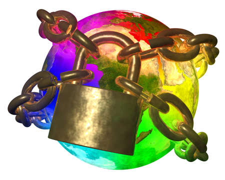 money cosmos: Rainbow Earth breaking golden chain - transformation of world