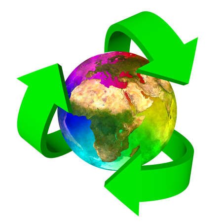 Eco symbol rainbow planet Earth - Europe Africa and Asia Stock Photo - 18725464