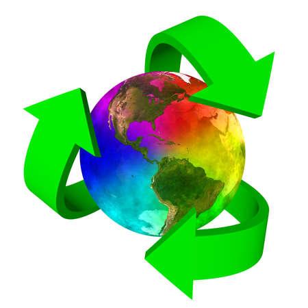 Eco symbol rainbow planet Earth - America Stock Photo - 18725463